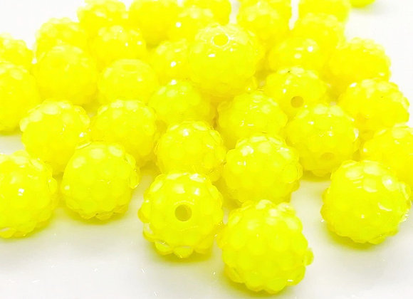 Resin Disco ShamballaBall Bead 12mm  Yellow