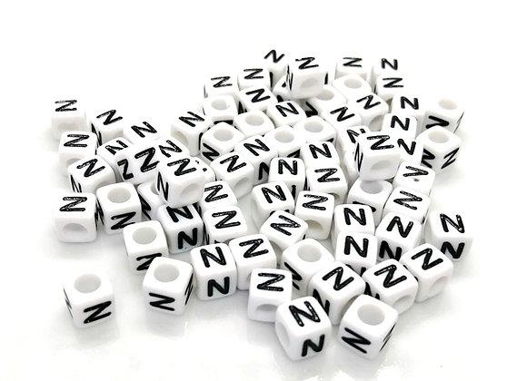 Acrylic Cube Letter N Pony Bead