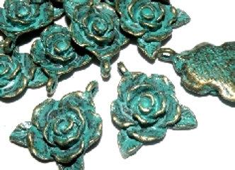 Large Patina Flower Charm/Pendant