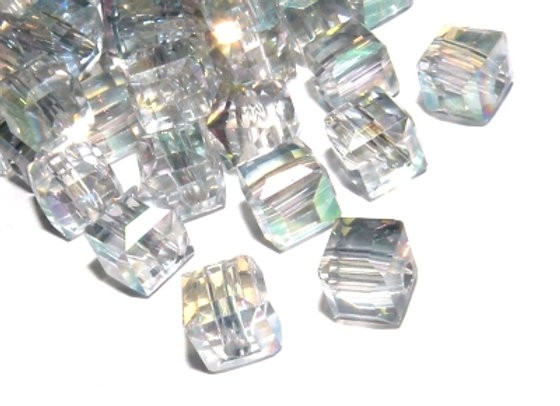 Electroplated Glass Faceted Cube Bead 6mm Clear AB Pack of 10