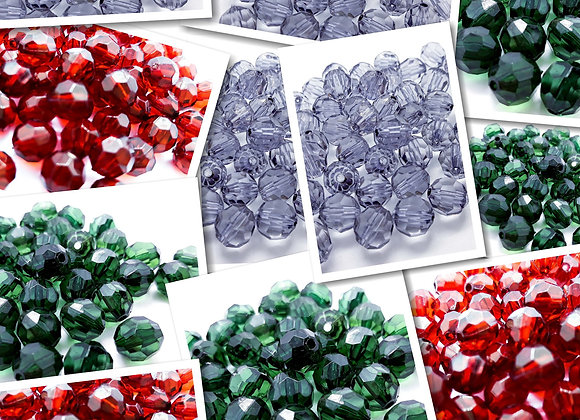 Transparent Faceted Round Beads 10mm - Choice of Colours - Pack of 10