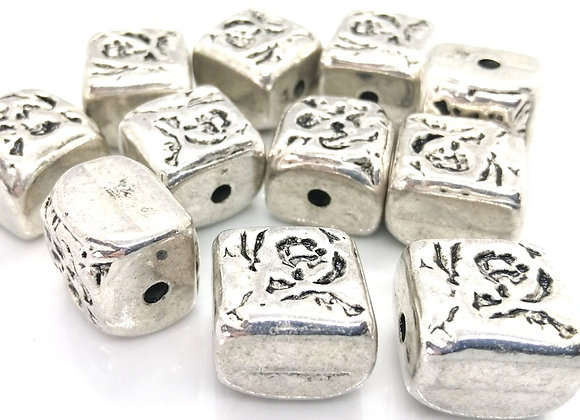 Large Bashed Cube Bead 18x15mm - Bright Silver