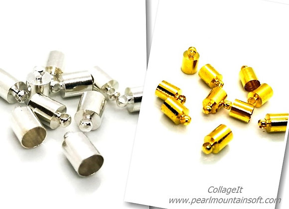 Cord End 5.5mm Hole - Pack of 2 - Silver or Gold