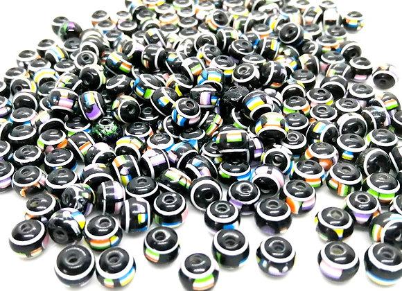 Small acrylic drum bead black multi jewellery making beads uk
