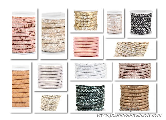 Stitched Faux Leather 6x4mm Reptile - Choice of Colours