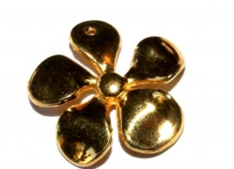 Zamak Heavy Metal Midi Flower Pendant - Gold