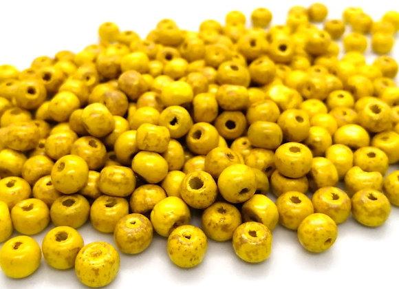Very Rustic Mustard Yellow Wood Beads