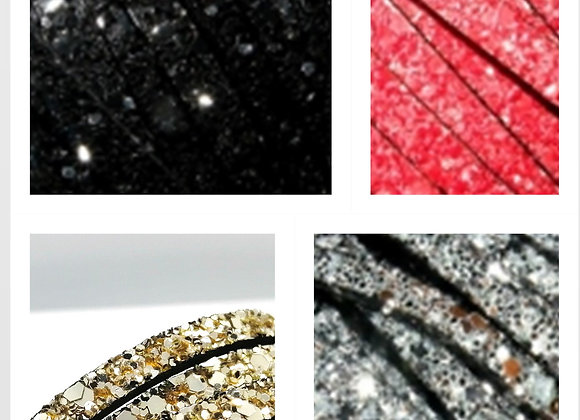 PU Faux Highly Glittered Leather 5mm - Choice of Colours