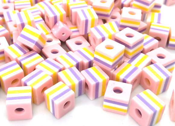 Resin Stripe Cube Beads 10mm Pink Mix Pack of 10