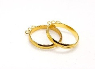 Bright Gold Coloured Three Loop Ring Shank, Adjustable