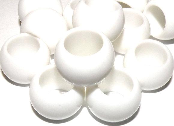 Large Hole Acrylic Bead - White