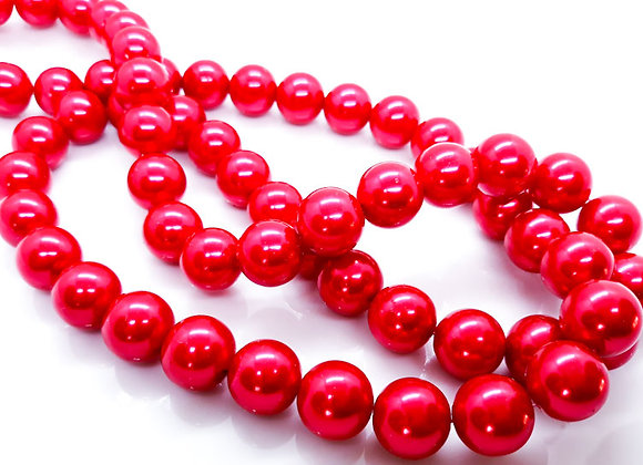 Glass Pearl Beads 14mm Scarlet - Pack of 10