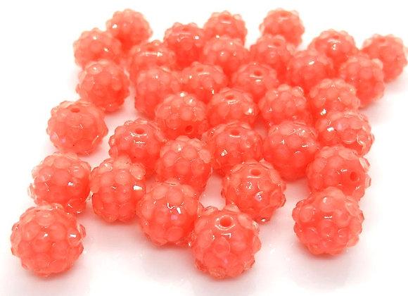 Peach resin rhinestone disco ball shamballa bead