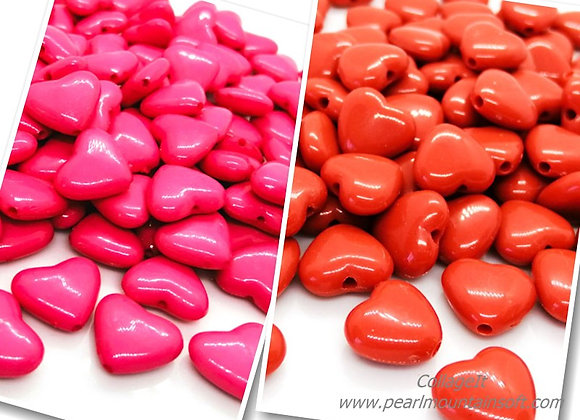 Heart Bead 12mm - Red or Pink