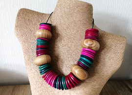 Statement Wood Bead Necklace