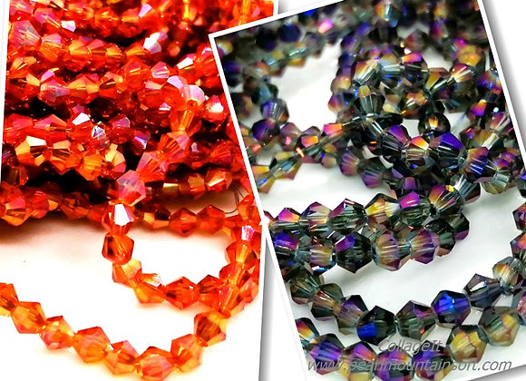 Electroplate Bicone Rainbow Beads 4mm - Pack of 25