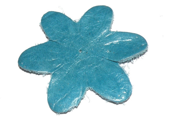 Large Soft Leather Flower 55mm - Turquoise
