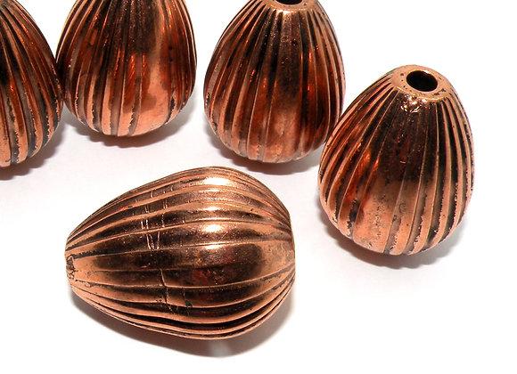 Large Copper Ridged Bead 35x25mm