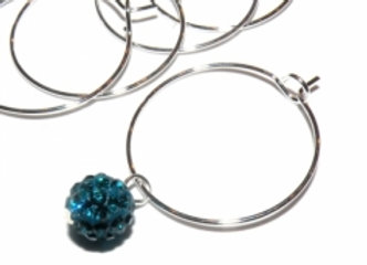 Wine Glass Charm Rings - Silver Pack of 10
