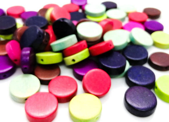 Colourful Wooden Disc Beads 4x15mm - Pack of 20 Mixed