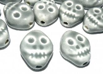 Glazed Porcelain Skull 23x19mm Bead - Light Grey