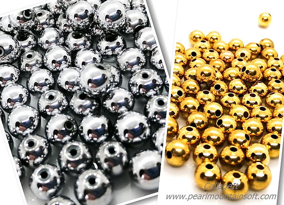 Heavy Metal Round Bead 6mm - Platinum or Gold