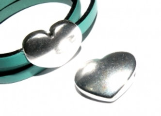 Silver  Heart Magnetic Clasp - 5mm Hole