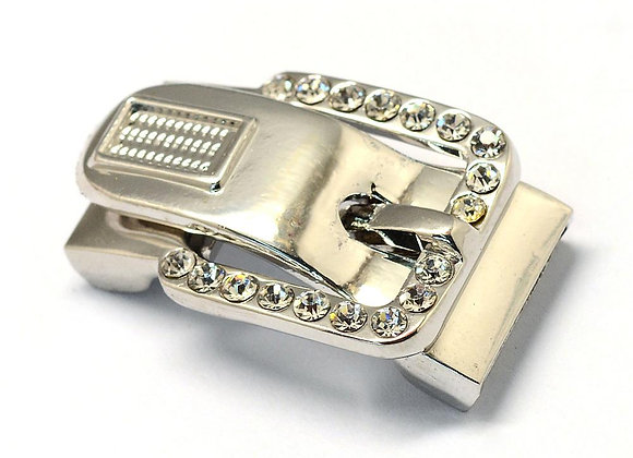 Large Magnetic Buckle Clasp with Rhinestones Silver - 16mm Hole