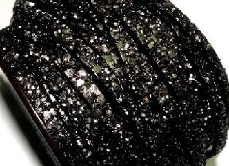 Flat Glitter Leather 5mm - Black