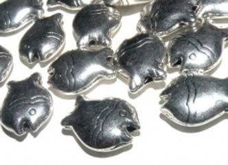 Large Tibetan Style Metal Fish Bead 15mm - Silver