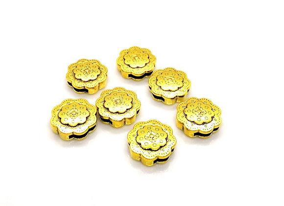 Tibetan Style Metal Flower Slider Bead Gold - 13mm Hole