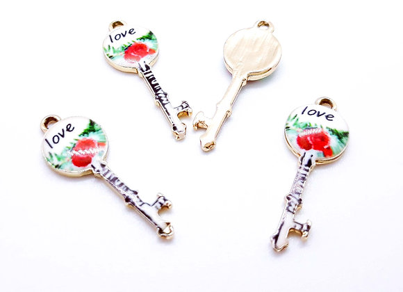 Enamelled Love Key Charm