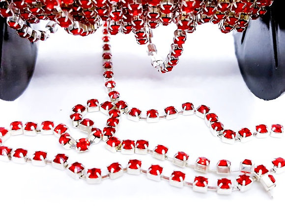 Grade A Rhinestone Cup Chain - Red - 49cm
