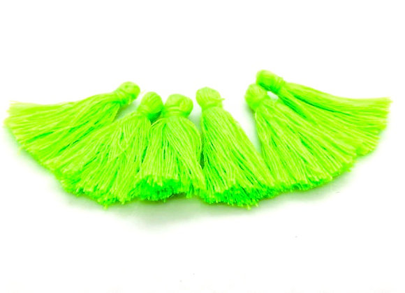 Cotton Tassels Neon Green Pack of 10