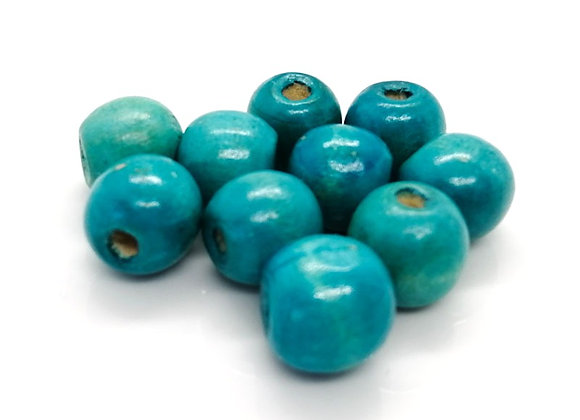 Round Wooden Bead 15mm - Turquoise