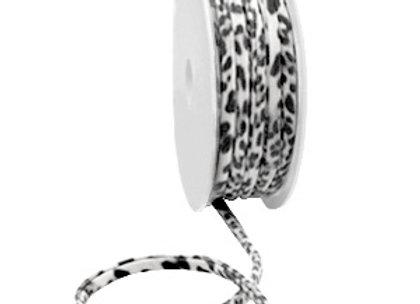 Ibiza Stretch Stitched Ribbon - Black/Grey Leopard