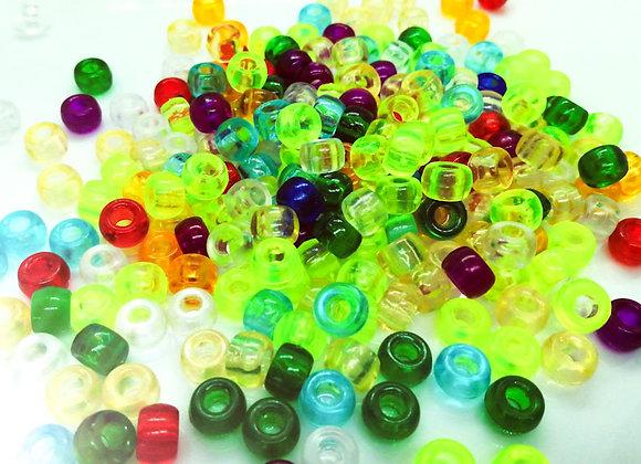 Pony Beads Plastic Barrel 6x9mm - Transparent Mix 100pk
