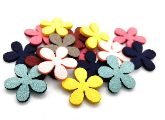Faux Suede Flower Pack of 20 - Choice of Colours