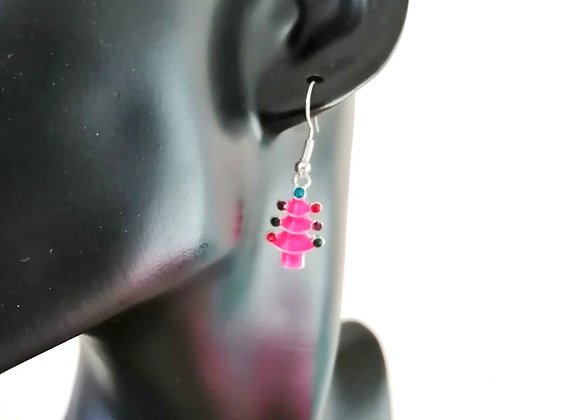 Christmas Earrings Kit - Hot Pink Tree with Rhinestones