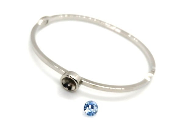 Stainless Steel & Crystal Bangle Kit Blue Zircon
