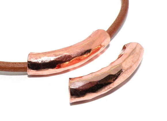 Rose Gold Curved Tube Bead 36mm