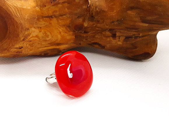 Fused Glass Art Ring - Red Mix