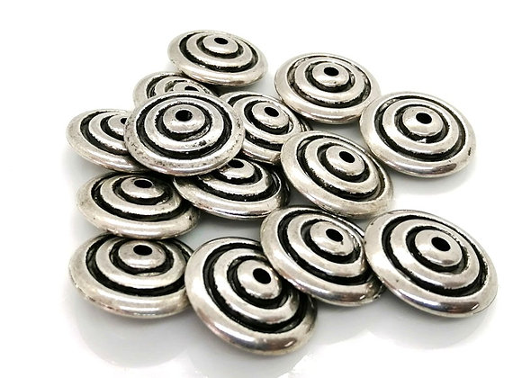 Acrylic tibetan style spiral disc bead