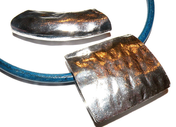 Tibetan Style Hammered Large Square Pendant/Bead 45mm - Silver