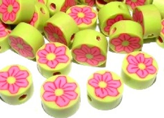 Handmade Flower Shaped Clay Beads 10mm - Green & Pink