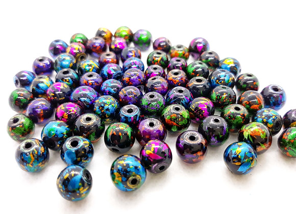 Multi Mix Painted Glass Black Beads 8mm - Pack of 50
