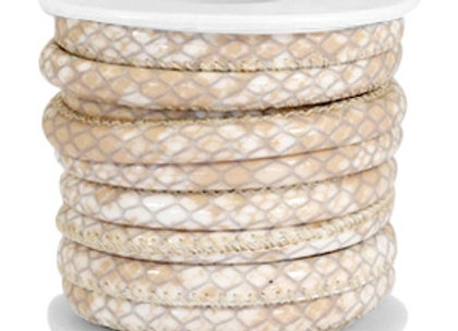 Stitched Faux Leather 6x4mm Reptile Beige