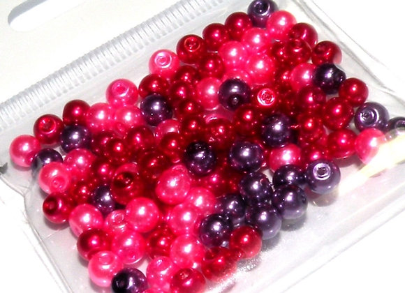 Glass Pearl Bead Mix 3mm Hot Pink - Pack of 100