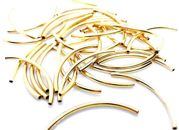 Metal Spacer Bead Curved Tube Gold 38mm