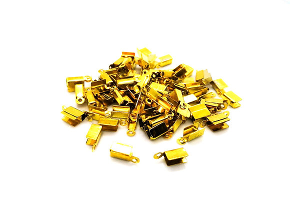 Fold Over Cord End Bright Gold 10x4mm - Pack of 10